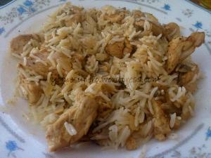 Pollo al limón con champiñones y arroz basmati